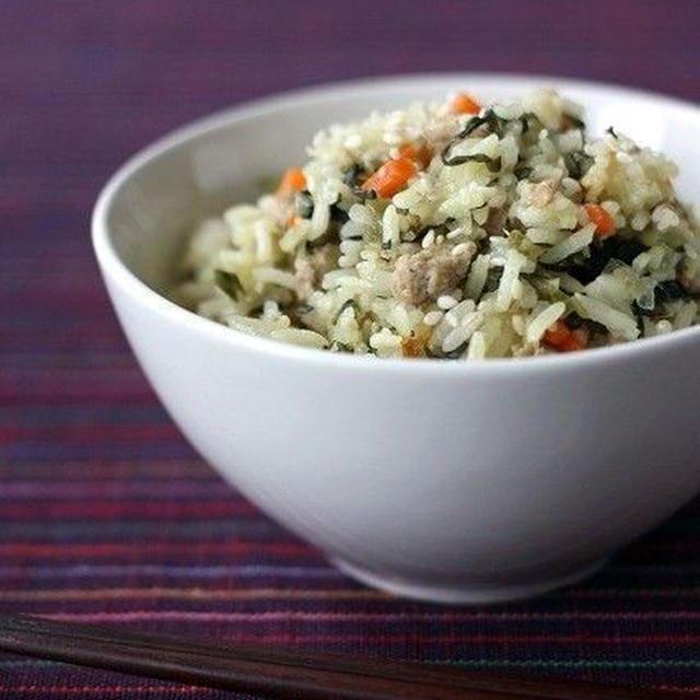 高菜と挽肉の炊き込みご飯